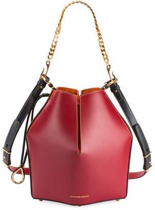 Alexander McQueen The Bucket Colorblock Shiny Calf Bucket Bag