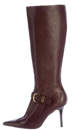 Christian Dior Buckle-Accented Knee-High Boots