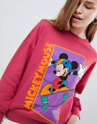 Pull&Bear mickey mouse sweater in pink