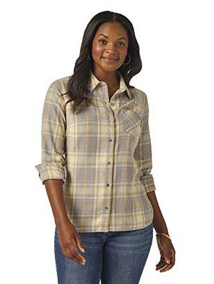 Lee Indigo Women's Heritage Long Sleeve Button Front Plaid Flannel Shirt