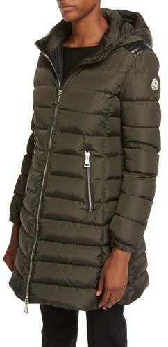 Moncler Moncler Orophin Long Puffer Coat w/Leather Trim, Olive