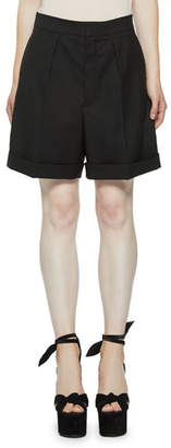 Saint Laurent Pleated Wool Bermuda Shorts