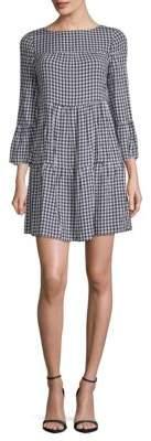 Gingham Bell-Sleeve Shift Dress