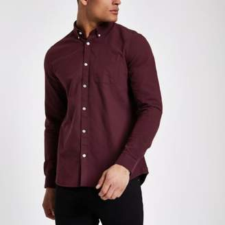 River Island Purple long sleeve Oxford shirt