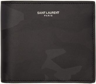 Saint Laurent Black Camo East West Wallet $385 thestylecure.com