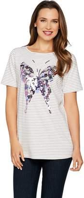 Factory Quacker Butterfly Sequin Striped Short Sleeve T-shirt