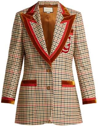 Gucci Velvet-trim houndstooth wool-blend blazer