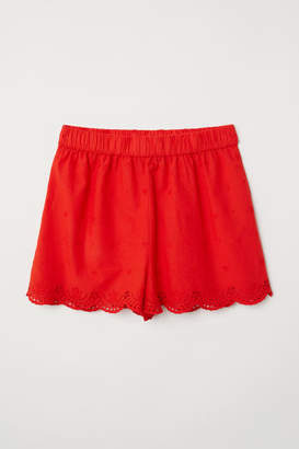 H&M Embroidered Cotton Shorts - Red