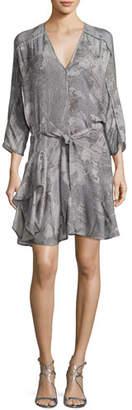 Halston V-Neck Printed Dress w/ Ruffled Skirt