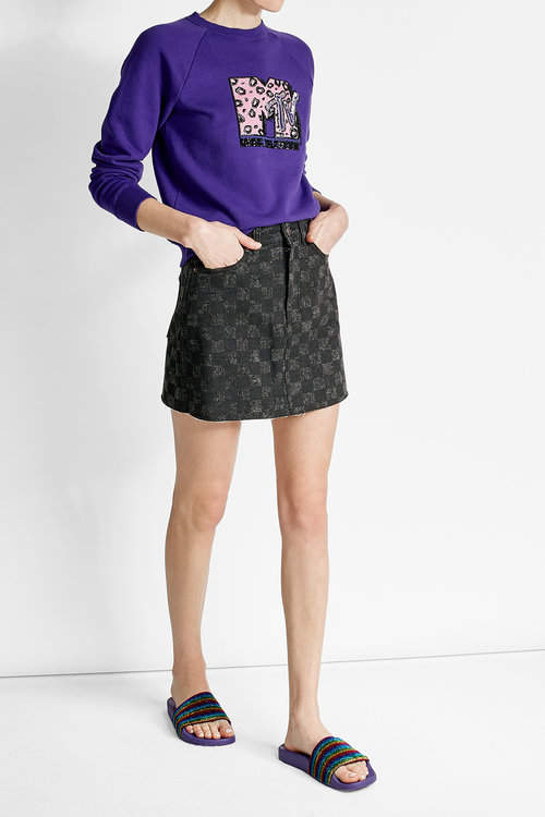 Marc JacobsMarc Jacobs Checked Denim Mini Skirt