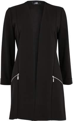 WallisWallis PETITE Black Zip Pocket Scuba Jacket