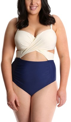 Lysa LYSA Navy Ruched One-Piece Swimsuit Plus Size - Carly