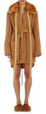 Helmut Lang Women's Faux-Fur-Collar Shaggy Coat-BEIGE $1,195 thestylecure.com