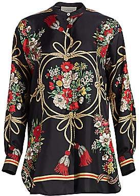 Gucci Women's Long-Sleeve Floral Silk Twill Tunic Blouse