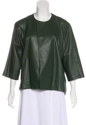 Josie Natori Leather Collarless Jacket