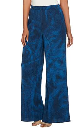 Halston H By H by Pet Full Length Printed Wide Leg Pants