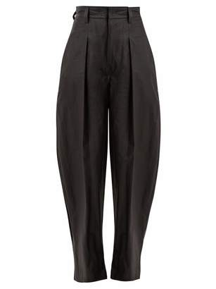 Isabel Marant Hexi High Rise Coated Cotton Trousers - Womens - Black