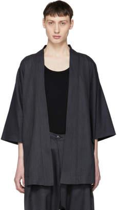 Blue Blue Japan Navy Chill Wool Gabardine Kimono Cardigan