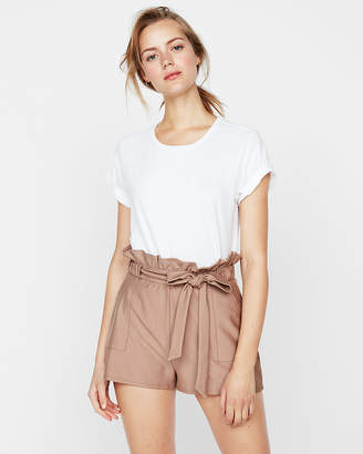 Express High Waisted Tie Front Utility Shorts