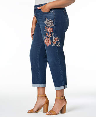 Style&Co. Style & Co Plus Size Botanical Shine Embroidered Curvy Boyfriend-Fit Ankle Jeans, Created for Macy's