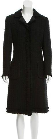 pradaPrada Fringe-Trimmed Wool-Blend Coat