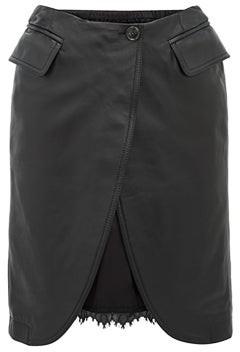 MM6 MAISON MARGIELA Open Front Leather Skirt - Womens - Black