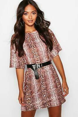 3a8445d887 boohoo NEW Womens Petite Snake Print Oversized T-Shirt Dress in