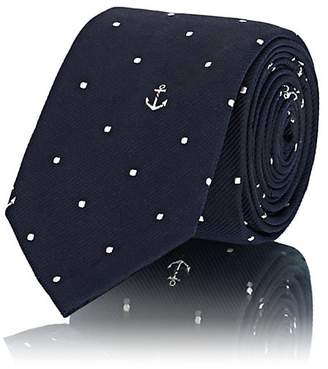 Thom Browne Men's Anchor-&-Dot-Print Silk Jacquard Necktie