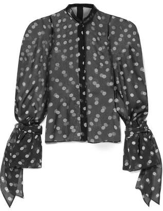 Petar Petrov Edda Leather-trimmed Polka-dot Silk-organza Blouse - Black