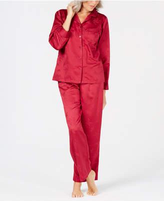 Miss Elaine Brushed-Back Satin Pajama Set