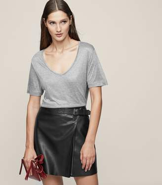Reiss Ace Buckle-Detail Leather Wrap Skirt
