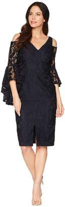 Maggy London Breezy Leaf Lace Cold Shoulder Sheath Dress with Ruffle Sleeve Women's Dress