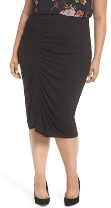 Vince Camuto Asymmetrical Side Ruched Pencil Skirt