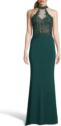 Xscape Evenings Embroidered High Neck Illusion Maxi Dress