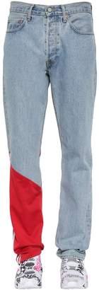 Vetements Cotton Denim Jeans W/ Jersey Detail