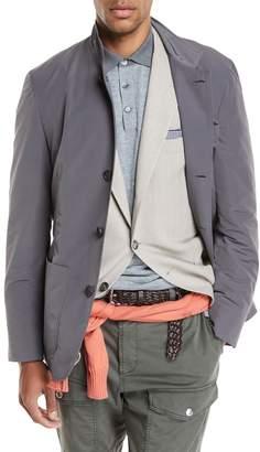 Brunello Cucinelli Button-Front Nylon Jacket, Gray