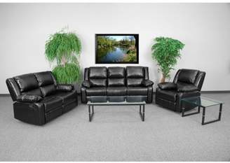 Generic Flash Furniture Harmony Series Black Leather Reclining Sofa Set