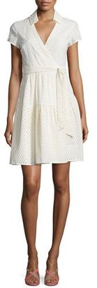 Diane von Furstenberg Kayley Two Eyelet Wrap Shirtdress, Ivory $448 thestylecure.com