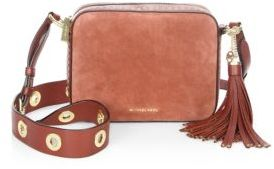 MICHAEL MICHAEL KORS Brooklyn Large Grommeted Suede Camera Bag $398 thestylecure.com