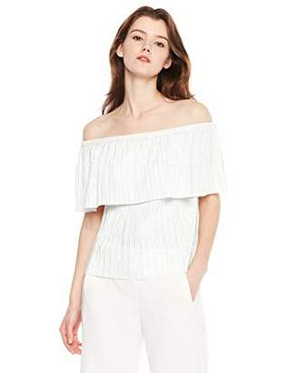 MEHEPBURN Women's Off Shoulder Ruffles Solid Casual Blouse Loose Tops L