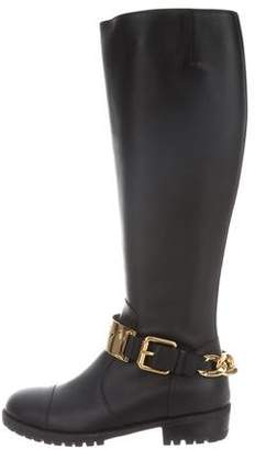 Giuseppe Zanotti Round-Toe Chain-Link Knee-High Boots