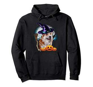 Corgi Witch Hat Dog Halloween Costume Gift Pullover Hoodie