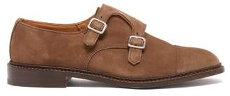 Tricker's Rufus Suede Monk Strap Suede Shoes - Mens - Tan