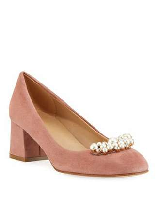 Sesto Meucci Mindy Low-Heel Pearly Ornament Pumps, Antique Rose