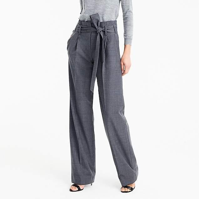 Tie-waist pant in wool flannel
