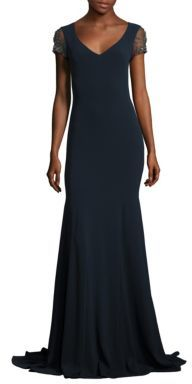 Theia Jeweled Crystal Embroidered Tulle Gown $1,295 thestylecure.com