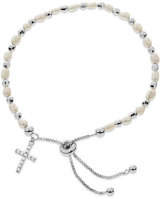 Silver Cross FINE JEWELRY White Cultured Freshwater Pearl Sterling Bolo Bracelet