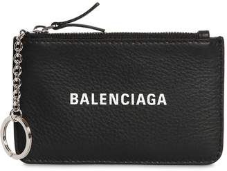 Balenciaga LOGO PRINTED GRAINED LEATHER KEY WALLET