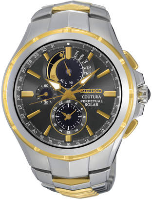 Seiko Men Solar Chronograph Coutura Two-Tone Stainless Steel Bracelet Watch 44mm SSC376