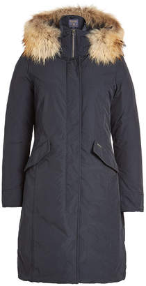 Woolrich Luxury Long Down Parka with Fur-Trimmed Hood